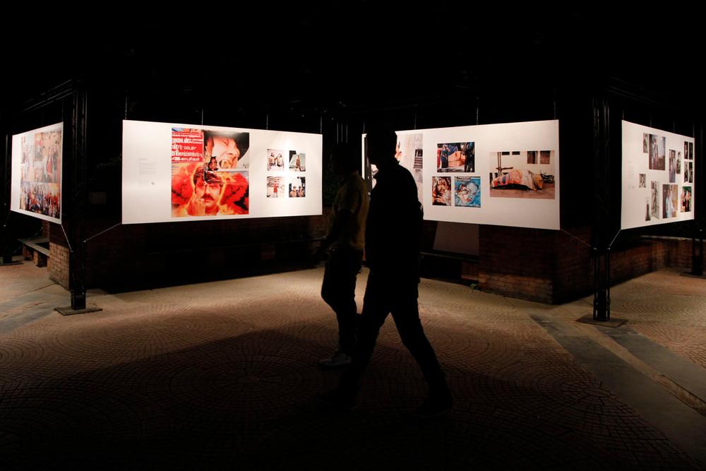 "Part view of the group exhibition ""The Plot"" featuring the works of Jonathan Torgovnik, Kannagi Khanna, Max Pinckers, Nathan G & Pushpamala N."