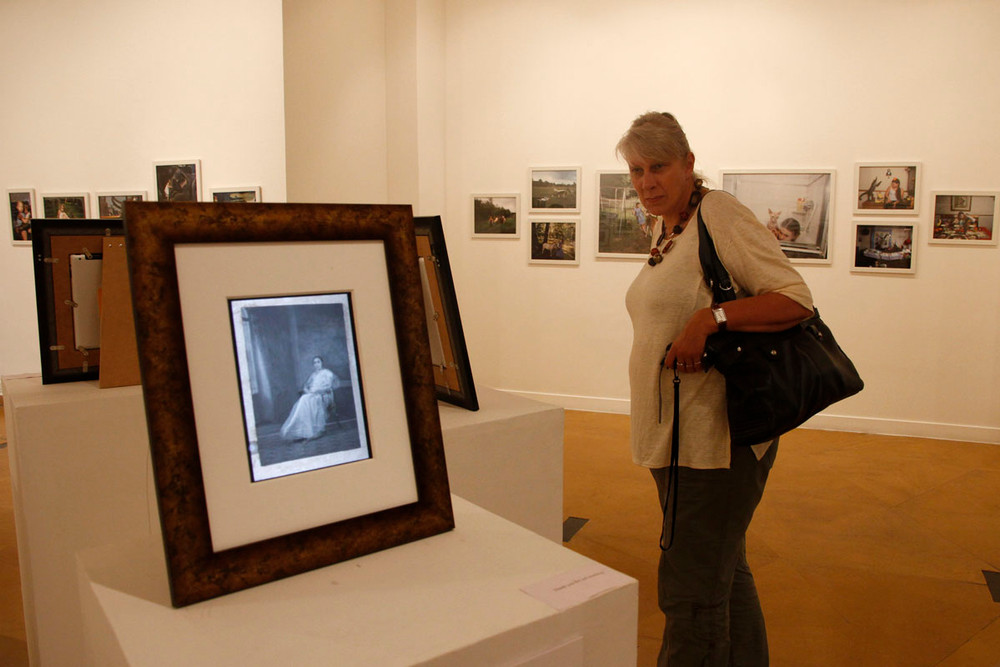 """A visitor views the installation of Annu Palakunnathu Matthew's """"RE-GENERATION"""""""