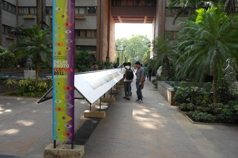 Various exhibitions displayed in the central walkway of the India Habitat Centre