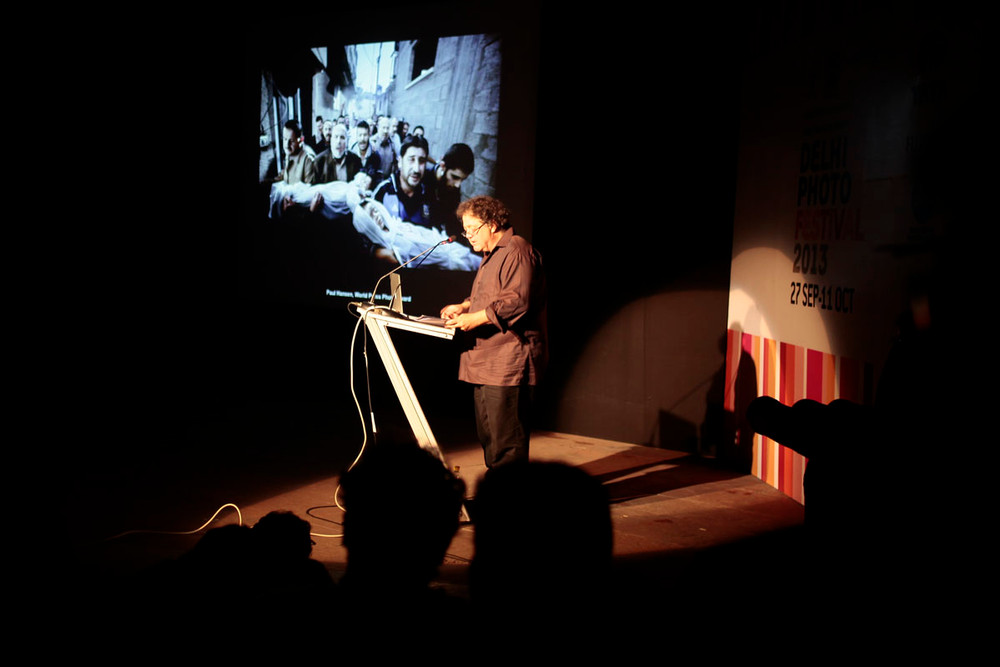 Urs Stahel delivers the keynote address at the start of the festival