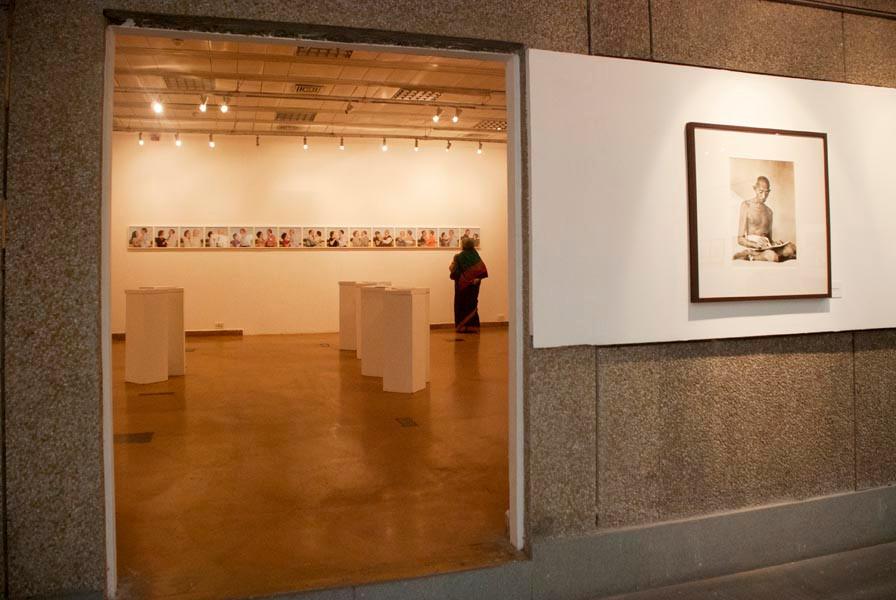 "Installation views of the exhibitions ""Kanu's Gandhi"" and Ana Galan's ""Viv(r)e la VIe!"""