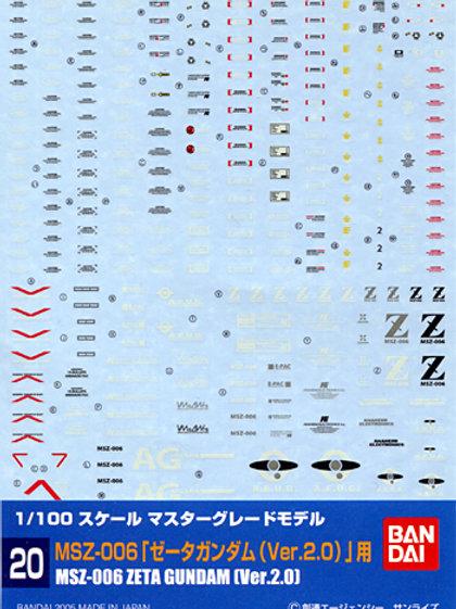 1/100 GD-20 MG Zeta Gundam Ver. 2.0 Decals