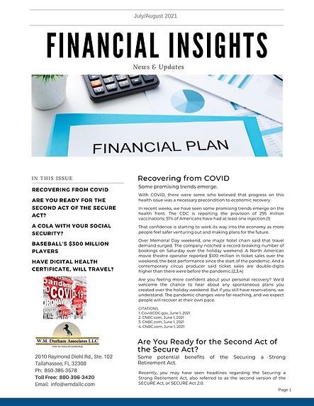 Financial Insights Newsletter JulyAugust