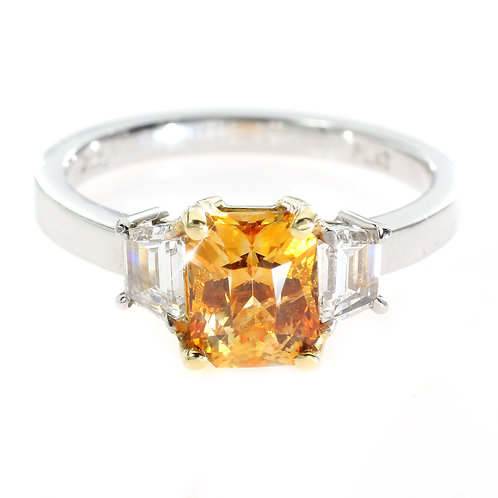 Cushion cut Orange Sapphire 3 Stone Ring Downtown Los Angeles Diamond District
