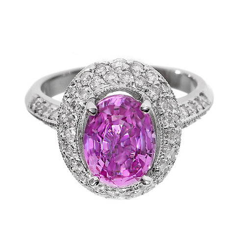 Vintage Pink Sapphire Diamond Halo Ring Downtown Los Angeles Diamond District