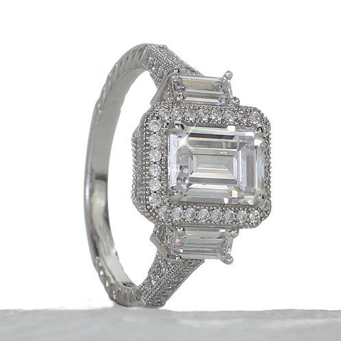 Vintage Emerald Cut Diamond 3 Stone Halo Engagement Ring Downtown Los Angeles Diamond District
