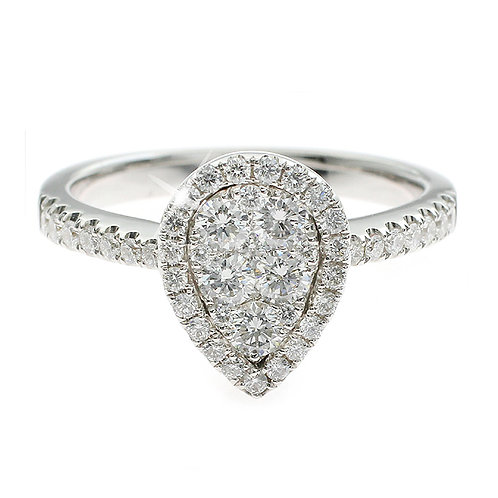 Pear Shaped Diamond Cluster Halo Engagement Ring Downtown Los Angeles Diamond District