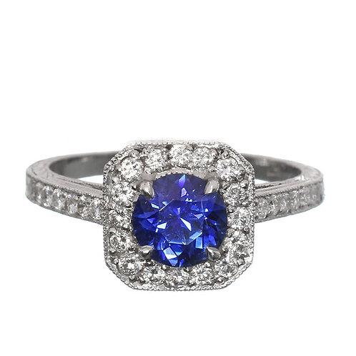 Round Blue Sapphire Diamond Halo Engagement Ring Downtown Los Angeles Diamond District