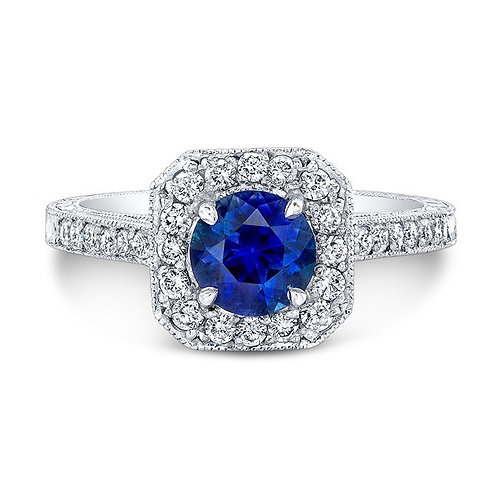 Blue Sapphire Halo with Diamond Engagement Ring Downtown Los Angeles Diamond District