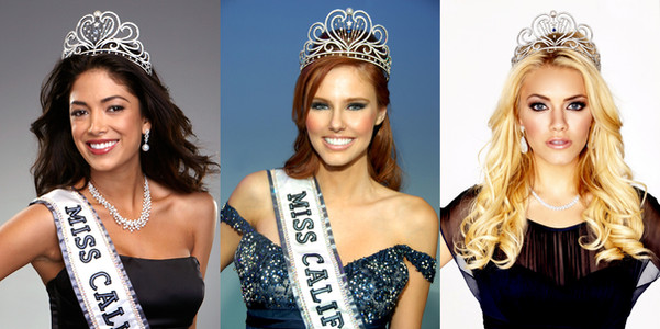 Miss California USA winners Nicole Phelps, Alyssa Campanella, and Cassie Kunze wearing the Miss California USA Legacy Crown, designed by our own Creative Director-Peter Young.