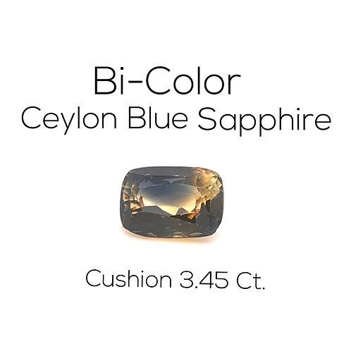 Bi-Color Sapphire Cushion 3.45 Ct.
