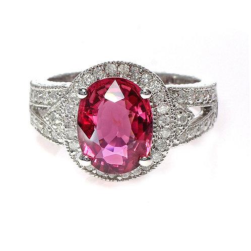 Pink Sapphire Diamond Halo Ring With Split Shank