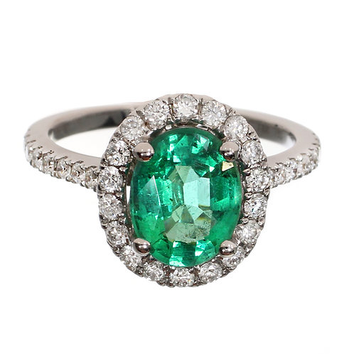 Oval Cut Emerald with Diamond Halo Engagement Ring Downtown Diamond District Los Angeles