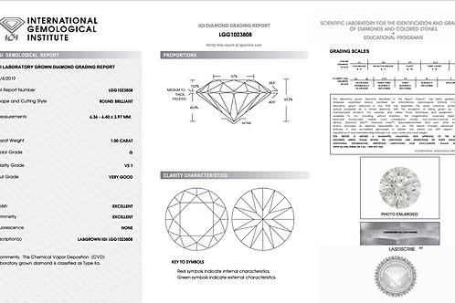 IGI Lab Grown Diamond Round 1.00Ct. G VS1