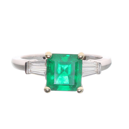 Emerald Cut 3 Stone Ring Downtown Los Angeles Diamond District