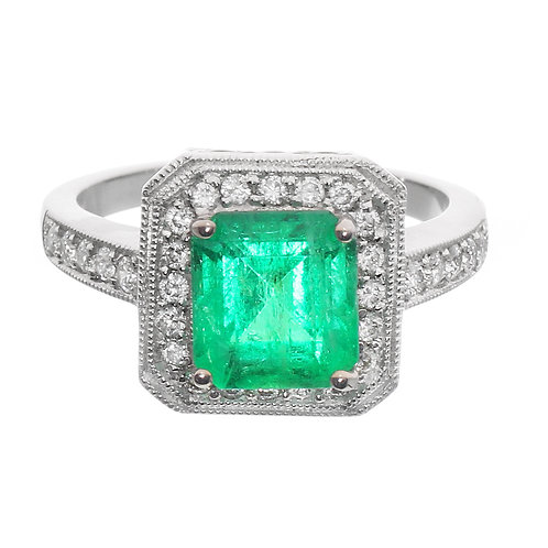 Emerald Cut Emerald in Diamond Halo Engagement Ring Downtown Los Angeles Diamond District