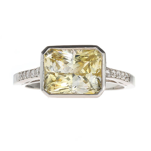 Yellow Sapphire Bezel Set Ring With Diamonds Downtown Los Angeles Diamond District