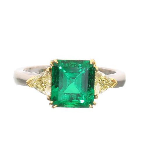 Emerald Cut Emerald with 2 Trillion Yellow Diamonds Downtown Los Angeles Diamond District