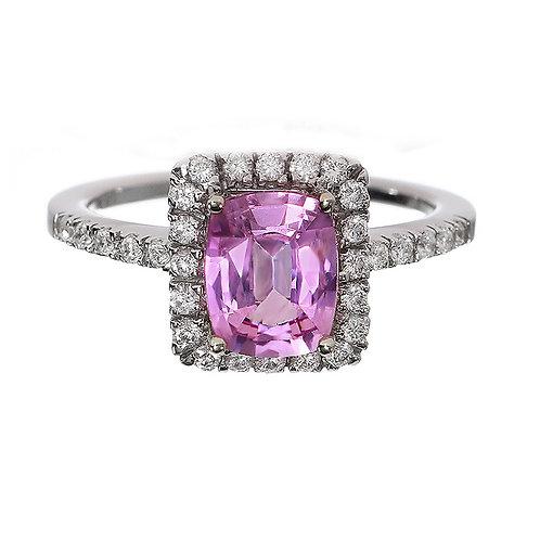 Pink Sapphire Cushion Cut Diamond Halo Engagement Ring Downtown Los Angeles Diamond District