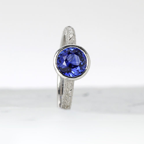 Blue Sapphire Bezel Set Engagement Ring Downtown Los Angeles Diamond District