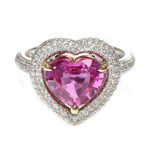 Heart Shaped Pink Sapphire Diamond Halo Ring Los Angeles Diamond District