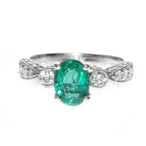 Oval Emerald 3 Stone Ring with Diamond Setting Downtown Los Angeles Diamond District