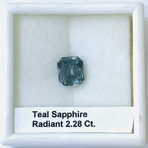 Blue Green Sapphire Teal Radiant 2.28 Ct