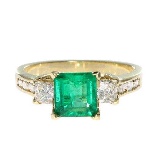 Emerald Cut Emerald 3 Stone Ring with Diamonds on setting Downtown Los Angeles Diamond District