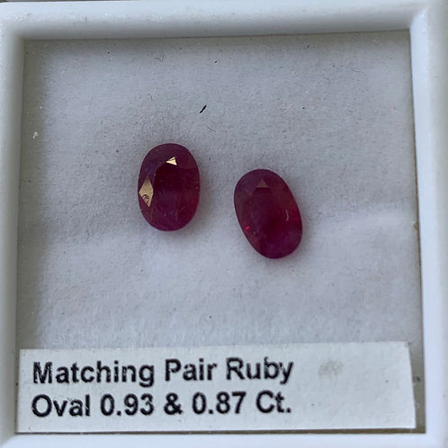 Burma Ruby Oval Pair 0.93 & 0.87