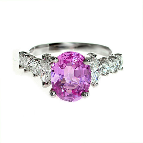 Oval Pink Sapphire With Diamond Engagement Ring Downtown Los Angeles