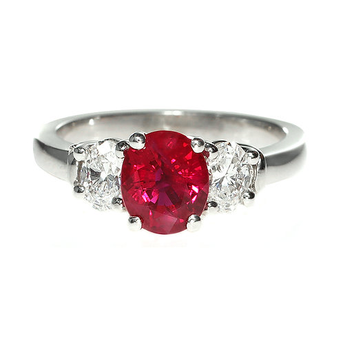 Ruby and Diamond 3 Stone Engagement Ring Downtown Los Angeles Diamond District