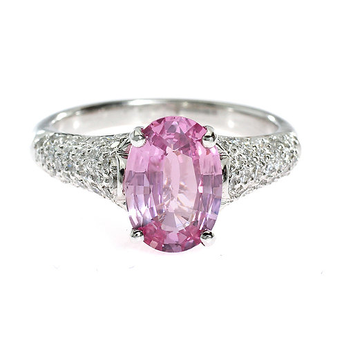 Oval Pink Micro Pave Engagement Ring Downtown Los Angles Diamond District