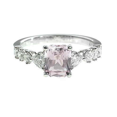 Cushion Cut Pink Sapphire Engagement Ring with Large Diamonds on Setting Downtown Los Angeles Diamond District