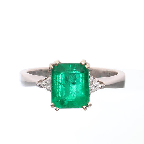 Emerald cut Emerald 3 Stone Ring with 2 Diamonds Downtown Los Angeles Diamond District