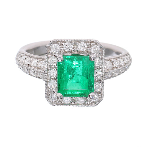 Emerald Halo Engagement Ring Downtown Los Angeles Diamond District
