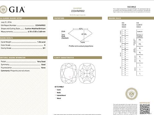 GIA Cushion 1.06Ct. K SI1