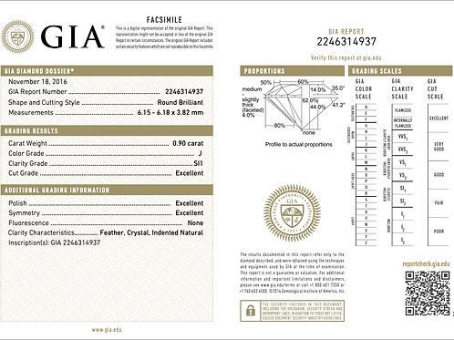 GIA Round 0.90Ct. J SI1