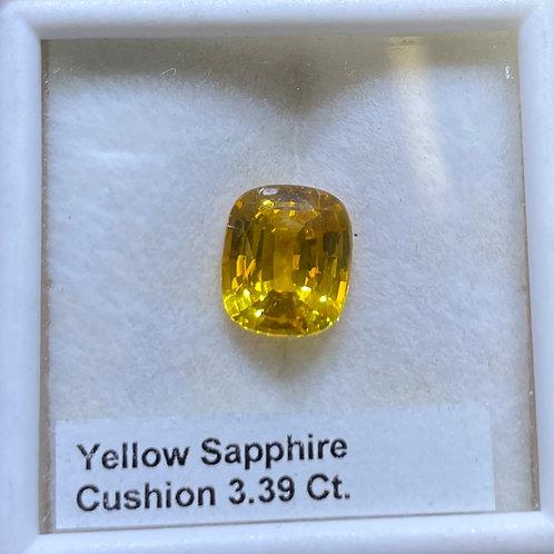 Yellow Sapphire Cushion 3.39 Ct
