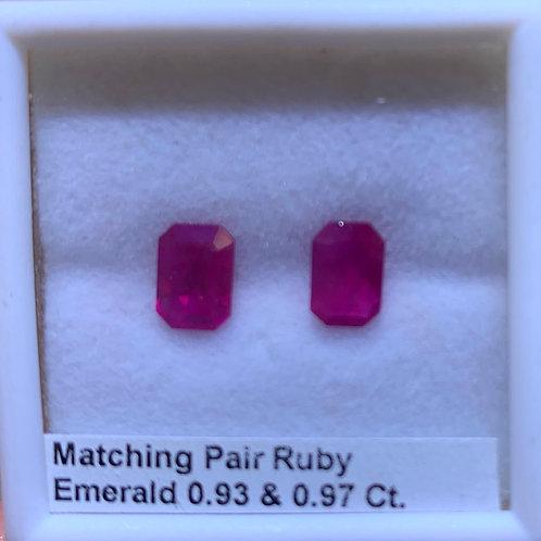 Burma Ruby  Pair  Emerald 0.93 & 0.97