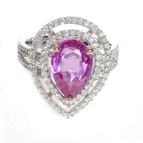 Pear Shape Pink Sapphire with Double Diamond Halo Downtown Los Angeles Diamond District
