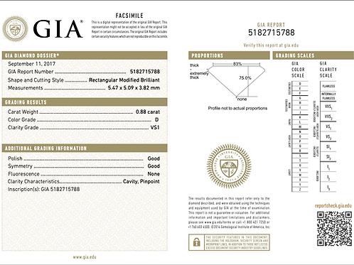 GIA Princess 0.88Ct. D VS1
