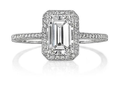Emerald Cut Diamond Halo Engagement Ring Downtown Los Angeles Diamond District