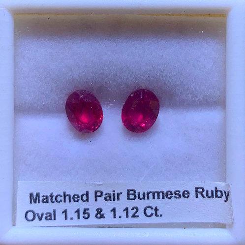 Burma Ruby Pair Oval 1.15 & 1.12 Ct