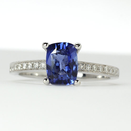 Cushion Blue Sapphire Solitaire Engagement Ring Downtown Los Angeles Diamond District