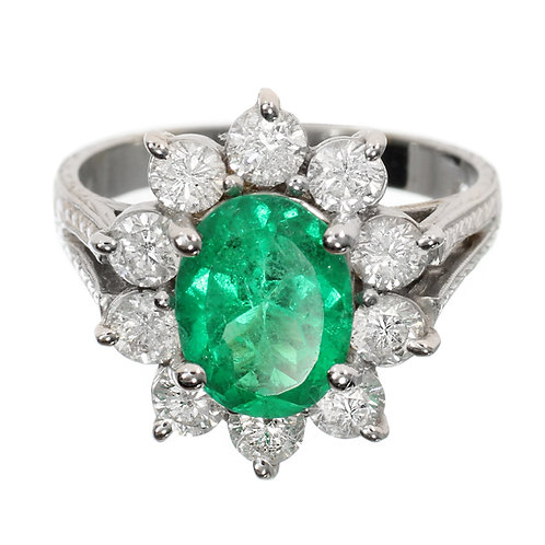 Oval Emerald with Diamond Flower Engagement Ring Downtown Los Angeles Diamond District