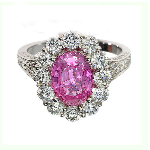 Oval Sapphire Diamond Halo Engagement Ring Downtown Los Angeles Diamond District