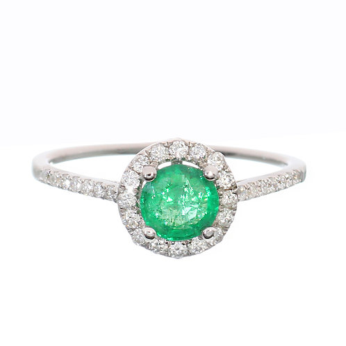 Round Emerald With Diamond Halo and Diamonds on Setting Downtown Los Angeles Diamond District