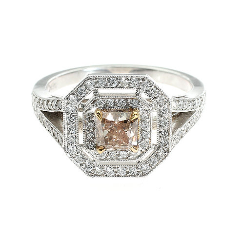 Pink Diamond Double Halo Engagement Ring Downtown Los Angeles Diamond District