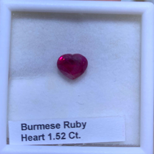 Burmese Rudy Heart 1.52 Ct