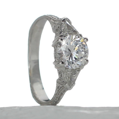 Vintage Round 3 stone Diamond Engagement Ring Downtown Los Angeles Diamond District